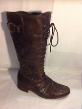Marco Tozzi Brown Mid Calf Leather Boots Size 40