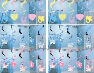 5 2ft Baby Shower Gender Party Hanging Swirls Christening Boys Girls Decorations