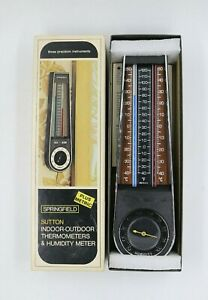 Vtg Springfield Sutton Indoor Outdoor Analog Thermometer Humidity Meter