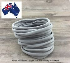 10pcs Light Grey Nylon Headband Thin-Super Soft-Stretchy - Non Dents - AU Seller