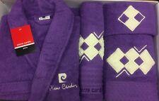PIERRE CARDIN L/XL 4 PIECE BATHROBE TOWEL SET PLUM PURPLE SQUARES CREAM COTTON