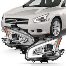 Chrome Clear LED Strip/Bar DRL Projector Headlight For 09-14 Nissan Maxima A35