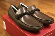 Salvatore Ferragamo Granprix Brown mens loafers shoes 8 EE US made in Italy NIB