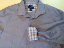 Egara Flip Cuff Shirt Blue Houndstooth Pattern Size XLT 18 18 1/2 EUC