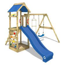 WICKEY Stelzenhaus Spielturm FreeFlyer mit Schaukel, blauer Rutsche & Plane
