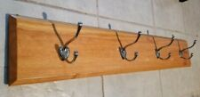 Wall Mounted Coat Rack -Stained Wood Board W/ 4 Double Chrome Hooks (As shown)