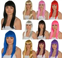 """LADIES LONG COSTUME WIG 19"""" STRAIGHT HAIR WIG FANCY DRESS COSPLAY PICK A COLOUR!"""