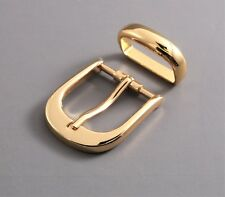 "New 1""(25mm) metal pin buckle(15G) w/loop in gold color and bonus rivets"