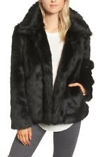 "NWT NEW  $498 BCBG ""Raina"" smoke gray rabbit fur hooded vest coat sz S 4 6 8"
