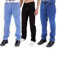 Mens Raiken Straight Leg Regular Fit Work Jeans Denim Trousers Pants Sizes