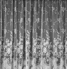 "LYNDSEY FLORAL WHITE NET CURTAINS   Sample Piece Half Meter 36"" Drop"