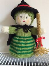 """Hand Knitted Halloween Witch doll / toy, approx 8.5"""" tall. NEW."""