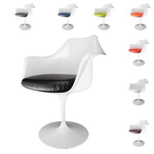 Set of 2 Glossy White Armchairs - Tulip Style with PU Seat Cushion