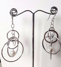 925 sterling silver dangle with freshwater pearl earrings