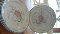 "International China Marmalade Dinner plates 10"" Geese Fruit Stoneware plates 4"