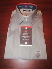 mens chaps herringbone twill shirt L 16-16.5 x 36/37 nwt black pepper gray
