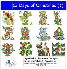 EMBROIDERY DESIGN CD - 12 DAYS OF CHRISTMAS - 12 DESIGNS - 9 FORMATS - THREADART