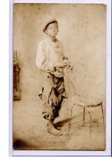 Real Photo Postcard RPPC- Black Americana Bare Foot Boy American Studio St Louis