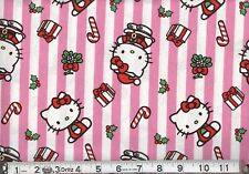 HELLO KITTY CHRISTMAS STRIPES FABRIC - PINK CP46558