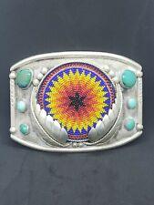 Beadwork Native Sterling Silver Turquoise Belt Buckle - Lutz Whitebird