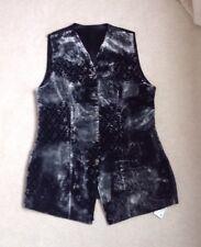 BNWT Vintage St Michael Waistcoat UK12 Ladies Grey Black Velvet Long Steam Punk