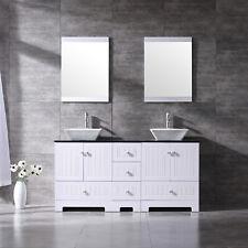 "60"" Bathroom Vanity Wood Cabinet Double Sinks w/ Faucet & Mirror & Glass Top Set"