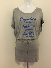 Ladies Plus Size XL/XXL (size 16/18) Short Sleeve Grey Printed Long Top Tunic