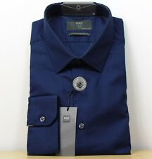 "M&s Baumwolle Stretch Slim Fit Langarm Shirt ~ Gr. 17"" ~ navy"