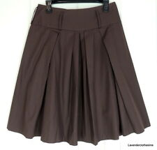Willi Smith 6 Brown Pleated Full A Line Style Modest Knee Length Skirt