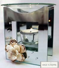 3d Flower Glass Tart Wax Warmer Oil Burner Tea Light Candle Holder Aromatherapy