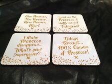 Prosecco Coaster Drink Mats Set Of 4 Gold Boxed