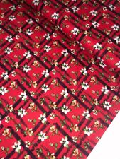 "1 Meter Red Floral Check Print100% Pure Cotton Fabric 45""Wide Dress Craft"