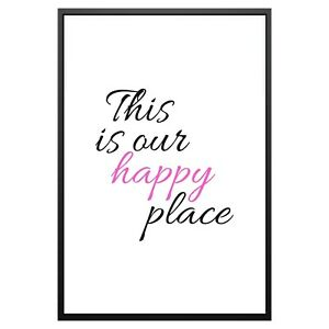 Happy Place Home Love Typography Print Poster Family Love Home Wall Quote Gift