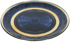 Blue Glass Decorative Plate Candle Plate Serving Plate 29cm Home Decor