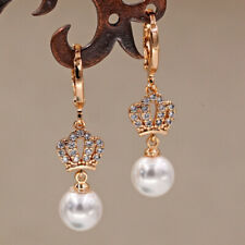 18K Gold Filled - 1.3'' Hollow Crown Pearl Gemstone Topaz Party Lady Earrings DS
