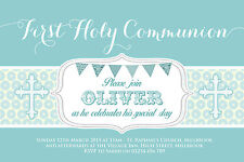 10 PERSONALISED BOYS FIRST HOLY COMMUNION INVITATIONS - THANK YOU CARDS