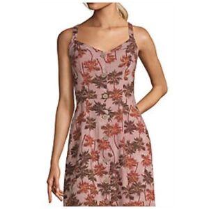 Convertible Strap Midi Dress Palm Tree Summer Sleeveless Tropical Women Large