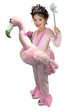Ride On Flamingo Pink Bird Costume Kids Girls Boys Funny Halloween Dress-Up