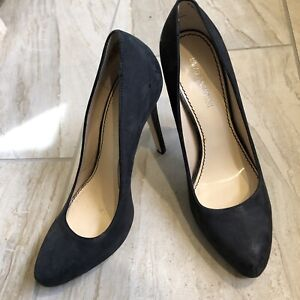Enzo Angiolini Size 8.5 Heels Charcoal Gray Suede Leather Estera Stiletto