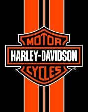 Harley Davidson Orange Stripe Bath, Pool, Beach Towel 54x68 Two Person LICENSED!