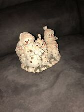 Winter Snowman Candle Holder with 7 Snowmen and Pine Cones - Great Condition !