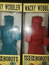"FUNKO ""ROCK'EM SOCK'EM ROBOTS"" BLUE & RED  WACKY WOBBLER BOBBLE HEAD"