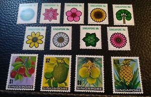 Singapore. Scott's #s 189-201. MLH. Flowers and Fruit. sal's stamp store.