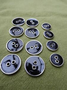 Black enamel and silver metal buttons x 12, retro style