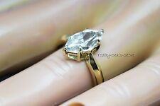 Marquise Cut Ring Anniversary Solitaire Engagement Wedding Solid 14K Yellow Gold