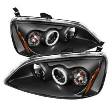 Fit 01-03 Civic 2/4dr Black CCFL Dual Halo LED Projector Headlights EX LX DX