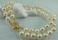 2 ROWS AAA 7-8MM NATURAL AKOYA WHITE PEARL BRACELET 14k CLASP 7.5-8 INCH
