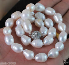 """Baroque Real Pearl Necklace 18""""Aaa+ Rare Large 11-12Mm White Cultured"""