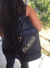 GUESS Vintage 90s Backpack Blue Drawstring Single One Strap Sling Bag Pockets