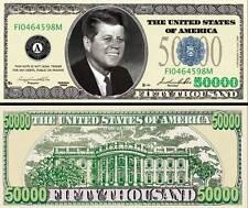 $50,000 Poker Play Money Dollar Bill Kennedy Fake Funny Money with FREE SLEEVE